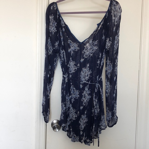 Free People Tops - Free People Navy Blue Sheer Floral Tunic Top Small